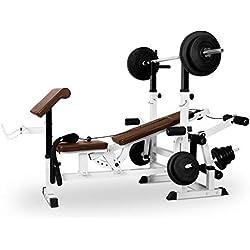 Klarfit Workout Hero 3000 Banco de musculación multifunción - Entrenamiento con Cargas guiadas, Banco de Pesas, Press de banca, Remo, Curler piernas, Carga máxima 280 kg, Estable, Acero, Blanco