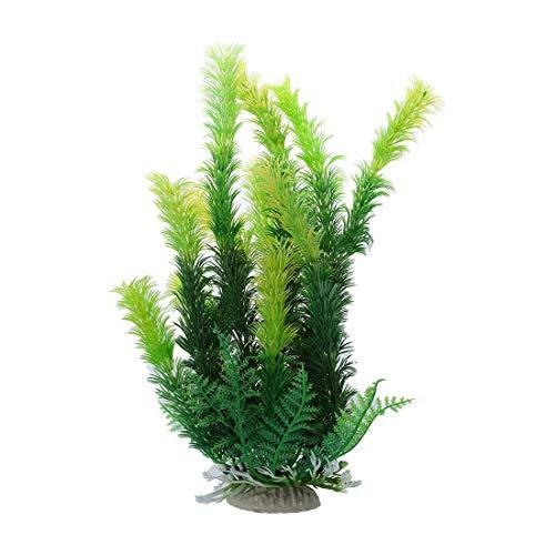 """SODIAL (R) Ceramica Base de Acuario 9.8 """"Altura plastico Plantas Acuaticas de Verde"""