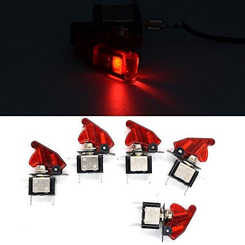 Ocamo 12V Auto LED Kippschalter mit LED Refit Schutz Cover–5x/Set