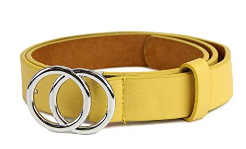 irisaa Schmaler Damen Gürtel mit runder Metallschnalle zwei Ringen, 2,8 cm breit und 0,4 cm stark, Länge:85, Farbe:Gelb new mit Silberring