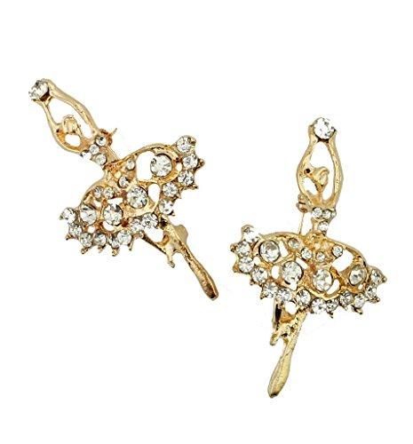 Spilla BR53 Bella elegante trasparente di cristallo dell'oro tono Ballerina Forma - Confezione da 2