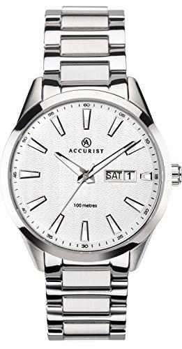 Accurist montre à quartz analogique pour homme avec cadran blanc et bracelet en acier inoxydable Argenté 7218