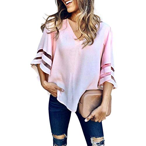 Oberteile Frauen Tops Sommer Kurzarm V-Ausschnitt Pullover Bluse Perfect Loose T Shirt T Shirt Rosa Style (Color : Colour, Size : S)
