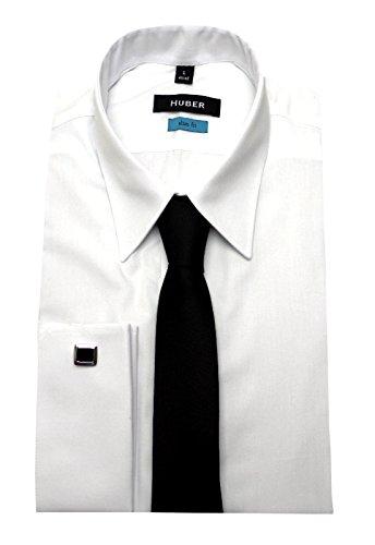Umschlag Manschetten Hemd weiß mit Krawatte HUBER 5361 Slim Fit / Tailliert Größe S bis XXL Weiß