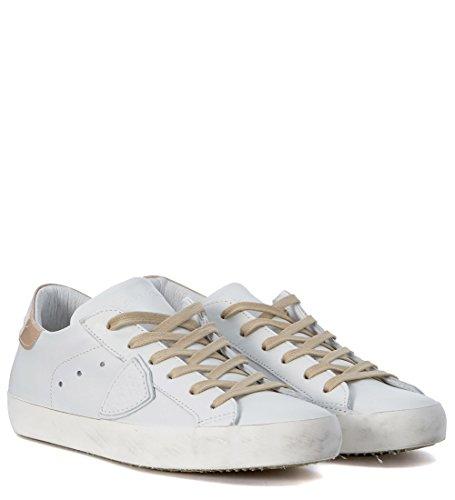 Sneakers Philippe Model Classic in pelle bianca e rosa Bianco