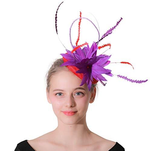 ylinder Blume Lila Und Rote Federn Handgemachtes Netz Kentucky Jockey Club Caps Besondere Kopfbedeckungen Cocktail Party Teeparty Church Ladys Perfektes Zubehör ()
