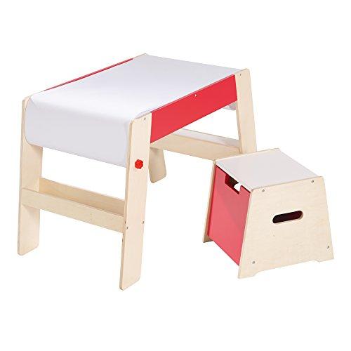 Maltisch & Hocker Set, Kindertisch & -Stuhl Kombination Holz natur/rot, Schreibtisch für die Vorschule inkl, Stuhl mit Papierrolle