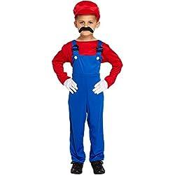 Disfraz para niños de Mario rojo trabajador talla L edades 10-12