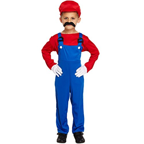 Super marios bro childrens plumbers overalls - red - large