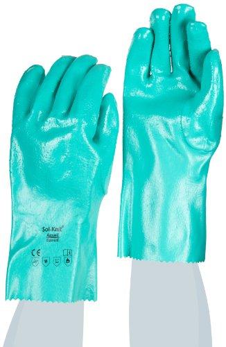 Ansell Sol-Knit 39-122 Nitril Handschuhe, Chemikalien- und Flüssigkeitsschutz, Grün, Größe 9 (12 Paar pro Beutel)