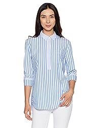 GAP Womens Button Down Shirt (148483000015_90870566400_Blue White Stripe_S)
