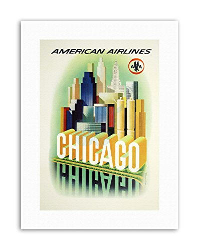 Wee Blue Coo LTD American Airlines Chicago Windy City USA Poster Vintage Travel Canvas Art Prints