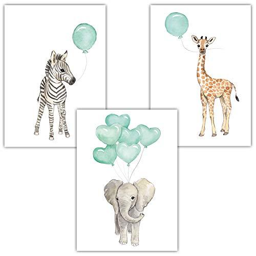 Frechdax® 3er Set Kinderzimmer Poster Baby Bilder DIN A4 | Waldtiere Safari Afrika Tiere Tierposter Luftballon Ballon Farbwahl (3er Set Mint, Elefant, Giraffe, Zebra)