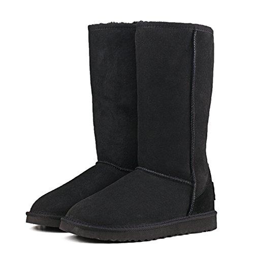 Shenduo Bottes femme cuir de mouton, Boots fourrées hiver Hautes doublure chaude en laine DV5815 Noir