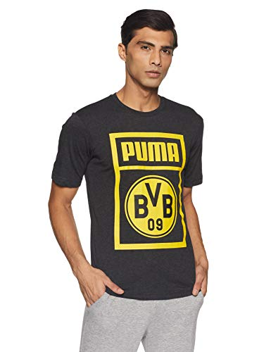 Puma BVB Herren Shoe Tag T-Shirt Dark Gray Heather 3XL -