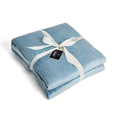 luanxiaonie Decke Farbe Seide Flanell Koralle Samt Klimaanlage Decke Vor Ort Einfache Doppelseitige Samtdecke, Farbe Seide-Kationisch Blau, 167 * 229Cm -