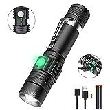 Taschenlampe USB Aufladbar, Zoombar LED Taschenlampen mit 18650 Akku, Karrong Taschenlampe Super Hell Wasserdicht, 4 Modi Perfekt für Outdoor Camping Wandern Notfall