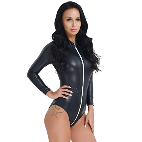 Freebily Frauen Bodysuit Leder Wet Look Bodys Langarm Tops Reißverschluss Overalls Jumpsuit Catsuit Kostüm Clubwear Schwarz (Schwarze Sexy Catsuit Reissverschluss)