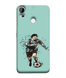 PrintVisa Football Player Man 3D Hard Polycarbonate Designer Back Case Cover for HTC Desire 10 Pro