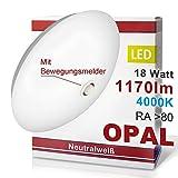 LED Deckenleuchte Deckenlampe mit Bewegungsmelder Opal Wandleuchte Wandlampe Deckenleuchte Deckenlampe 18 Watt Neutralweiß