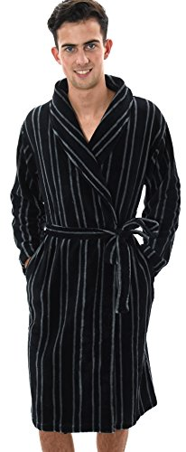 Mens Knee Length Fleece Wrapover Dressing Gown, Various Styles, S-XL Striped