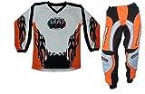 Completino maglia maglietta + pantalone bimbo e bambino per moto da cross mini quad bmx arancio...