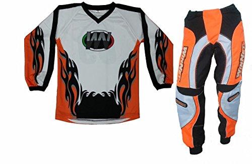 WinNet Completino maglia maglietta + pantalone bimbo e bambino per moto da cross mini quad bmx arancio arancio