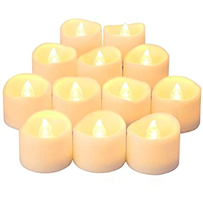 Oria LED Candles Tea Lights, 12 Pack Flickering Flameless Candles, Realistic Battery Operated Fake Candle with Warm White Bulb light for Halloween Decoration, Festivals, Weddings Propose etc.