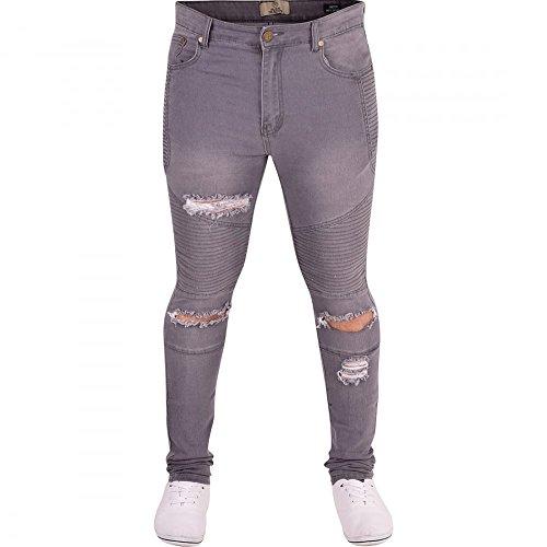 Herren Island Trading Zerrissen Schlitz Knie Skinny Stretch Enge Jeans Distressed Herren Denim Grey- Biker
