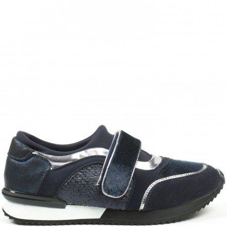 Ideal Shoes - Basket multi matières avec scratch Malinia Marine