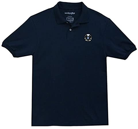 Marvel Avengers Men's Blue Polo With Shield Logo Adult Large