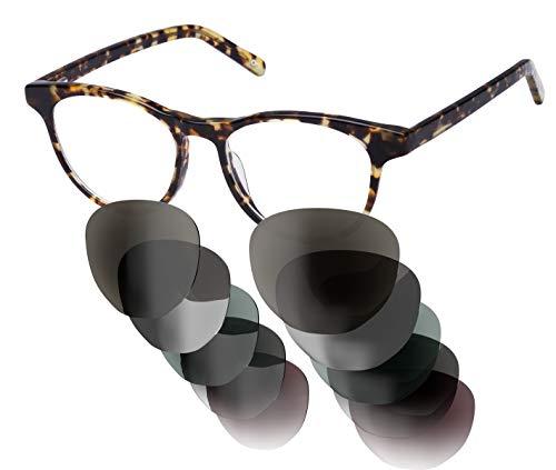 Sym Sonnenbrille mit wählbarer Sehstärke von -4.00 (kurzsichtig) bis +4.00 (weitsichtig) | Auswechselbare Gläser in 6 Farben | Für Damen & Herren | Modell 03 | Light Tortoiseshell Effect | High Gloss