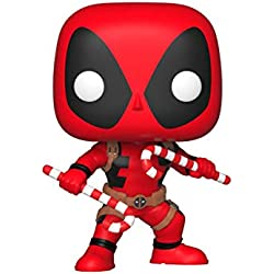 Funko – Pop.Color Marvel Color Holiday Deadpool con Candy Canes (Bobblehead),, 33985