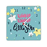 Designer Panda Twinkle Little Stars, Light Weight Printed Wooden Wall Clock for Kids Room, 8 Inches