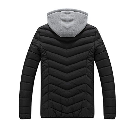 Zhhlinyuan Moda Men's Winter Warm Outdoor Padded Jacket With Detachable Gray Hat Dark Blue