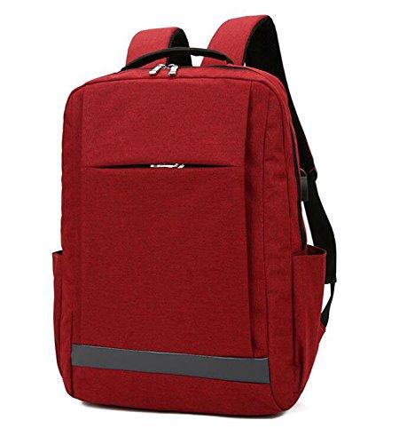 ZHANGOR USB Reise Rucksack, Business Laptop Tasche, Student/Arbeit Oxford Stoff, Wasserdicht, Atmungsaktiv, Im - Freien Rot-gewebe Im