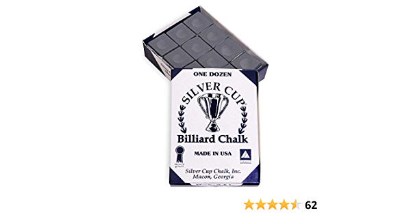 12 Pc Set Sterling Gaming USA Made Silver Cup Pool Table Chalk in Charcoal