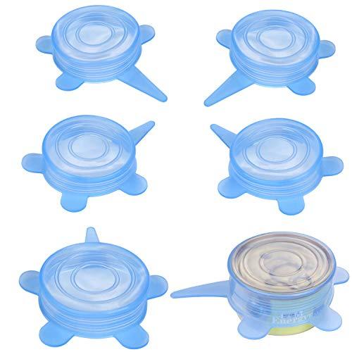 Slson - confezione da 6 coperchi universali per lattine di animali domestici, in silicone elasticizzato, senza bpa, per cani e gatti, colore: blu