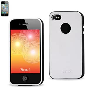 Reiko PP03-iPhone4BKWH Premium Protector Cover PC Sides/TPU for iPhone 4/4S - Retail Packaging - Black/White