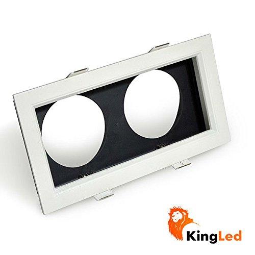 KingLed - Cornice da 2 Posti per Faretti Grille Modello RS01 da 12W, Supporto con Dimensione Foro 200 x 100 millimetri, Dimensioni 215 x 115 millimetri, cod. 1358 - Grille Supporto