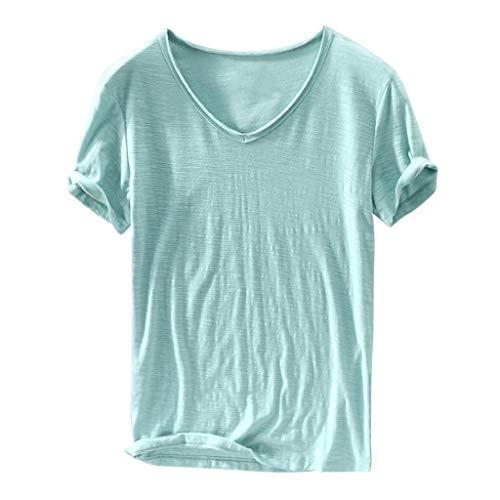 Baumwolle Mischung Anzug (T-Shirt Yesmile Unisex T-Shirt Einfarbige T-Shirts Herren T-Shirts Slim fit Crew Neck Basic Baumwolle Männer T-Shirt Crew Neck Sweatshirt Kurzarm Männer T Shirts Top)