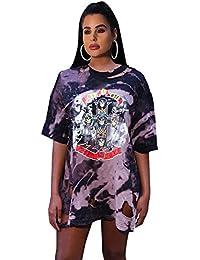 Manga Corta de Las Mujeres Cuello Redondo Hip Hop Graffiti Punk Print  Camiseta Vestido Sexy Agujero 452f7316ff1