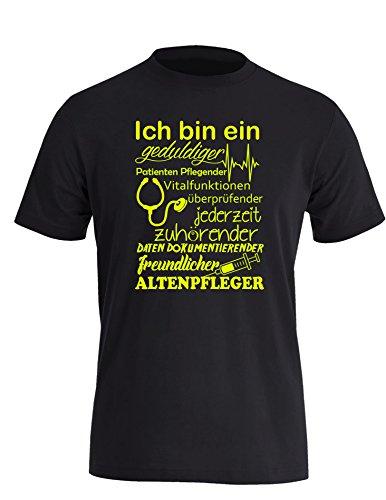Ich bin ein geduldiger, Patienten Pflegender, Vitalfunktion überprüfender... freundlicher Altenpfleger - Herren Rundhals T-Shirt Schwarz/Neongelb