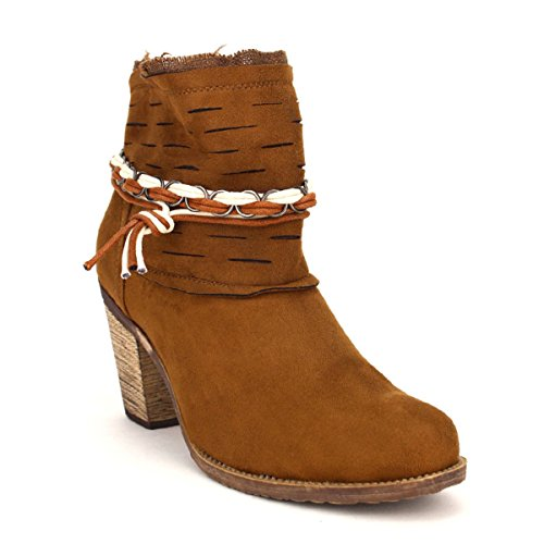 Cendriyon, Bottine cuir Camel BELLUCI Chaussures Femme Caramel