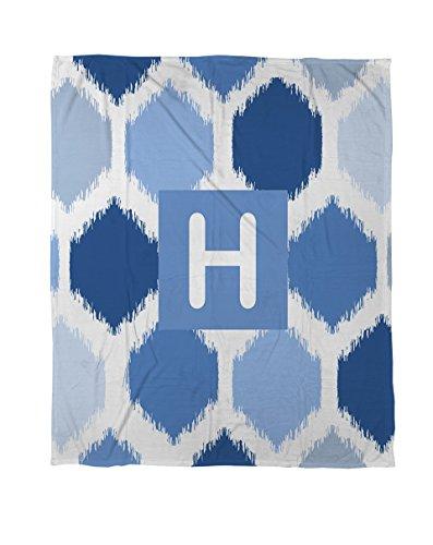 Manuelle holzverarbeiter & Weavers Coral Fleece Überwurf, 30von 102cm, Monogramm Buchstabe H, Blau Batik - Denim Tie Dye Tie