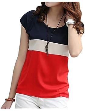 Mujeres Rayas De Manga Corta De La Gasa Camisas Blusa Sueltas Camisetas Tops T Shirt Rojo M