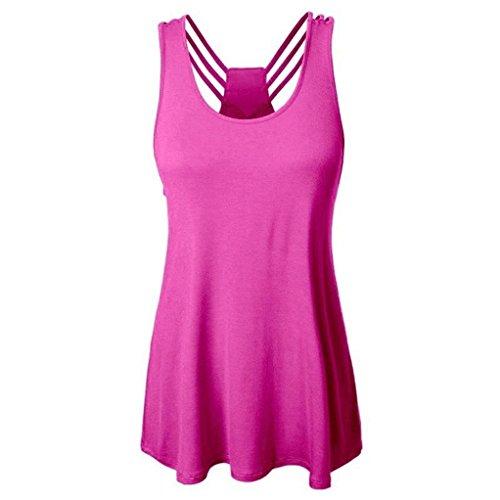 ten Shirt Träger Top Weste Top Oberteil Ärmellos T-Shirt Tanktop Blouse(L,Pink) (Polo Mint Kostüm)