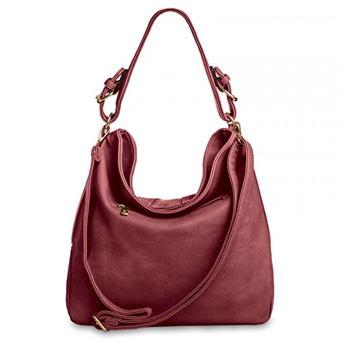 CASPAR Fashion, Borsa a tracolla donna Rosso (Vino)