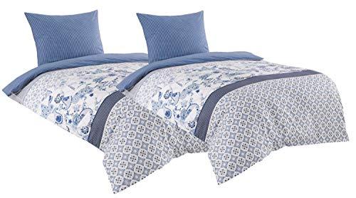 Leonado Vicenti Baumwolle Renforce Bettwäsche 135x200 4teilig weiß blau gestreift mit Reißverschluss -