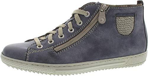 Rieker Damenschuhe L9402 Damen Kurzstiefel, Boots, High-Top Sneaker, Lose Einlage, Deko-Reißverschluss außen Blau (Jeans/Lightgold / 14), EU 39